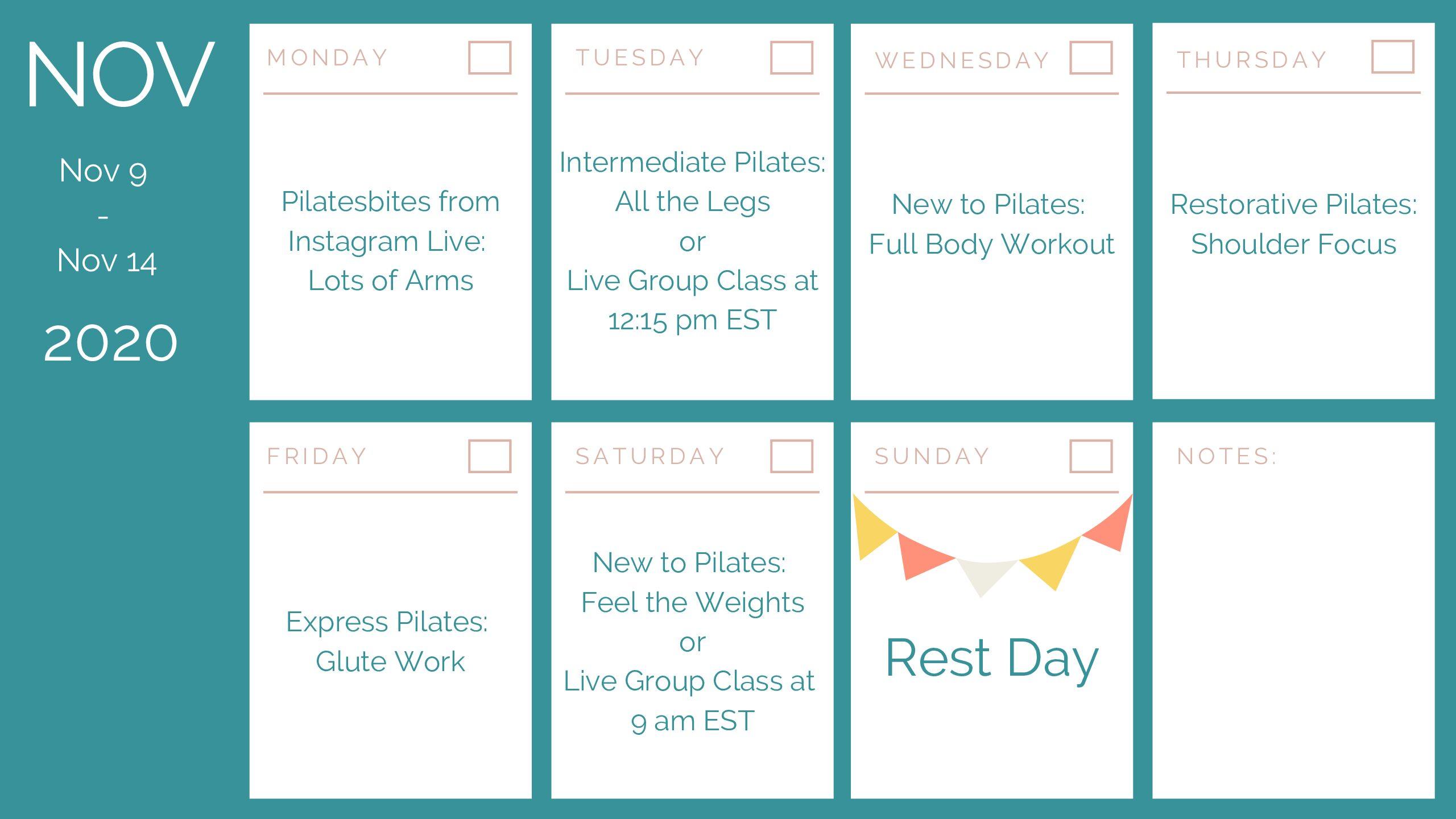 weekly Pilates schedule